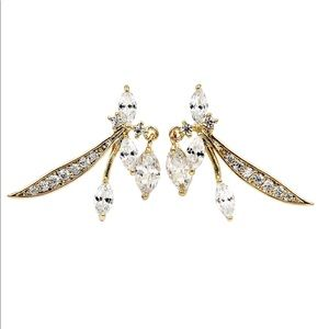 Lovely gold little crystal dragonfly earrings